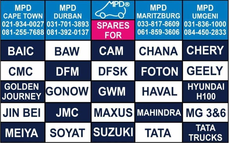 SPARES FOR ALL CHINESE AND INDIAN BAKKIES, CARS AND SUV - FOR OEM QUALITY AT THE BEST PRICES