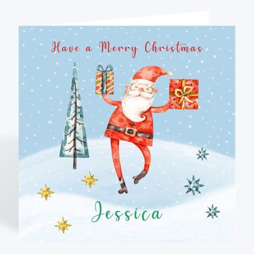 Handmade Personalised Santa Christmas Card Grand Daughter Grand Son Boy Girl