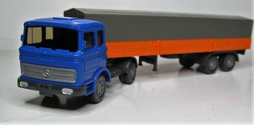 Wiking 1:87 Mercedes LPS 1620 Pritschensattelzug Sonderfarbe blau orange PMS