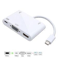 USB-C USB 2.0 Type C to HDMI AV & VGA & USB OTG & Female Charger Adapter for Pro