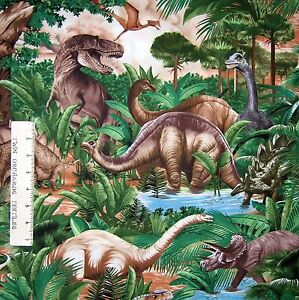 Animal-Fabric-Dinosaur-T-Rex-Jungle-Scene-Timeless-Treasures-YARD