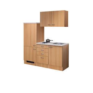 Details zu Singleküche mit Kühlschrank Spüle Kochplatte Miniküche  Küchenzeile 160 cm buche