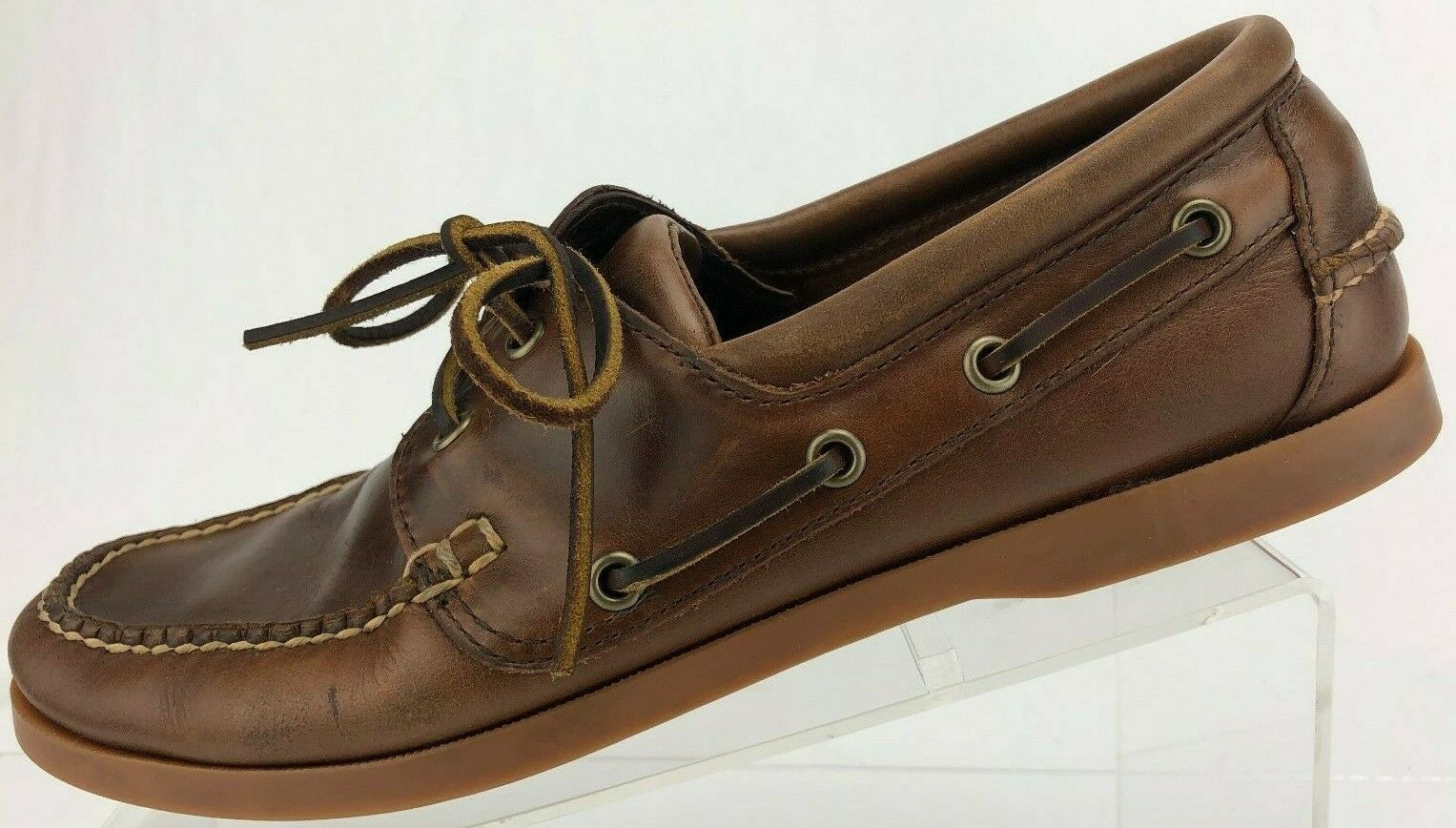 Brooks Bredhers Boat shoes 2 Eye Brown Driving Moc Toe Leather Deck Mens 9 D