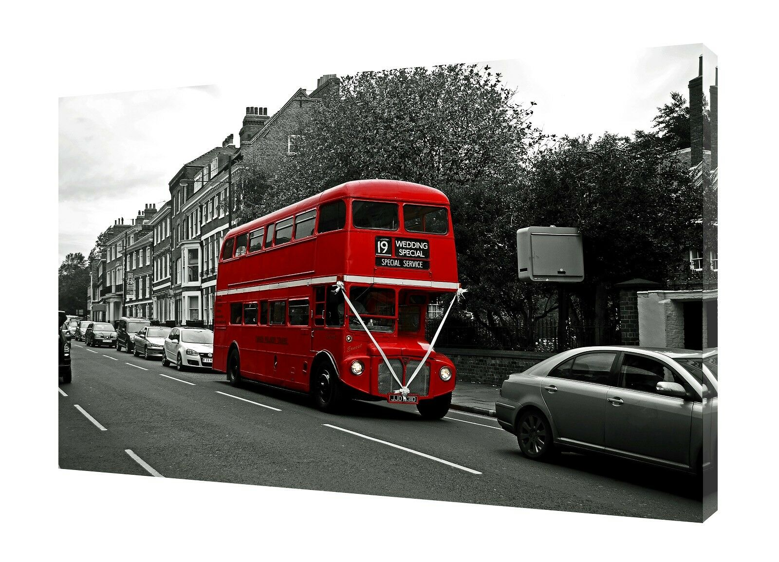 LONDON WEDDING    OLD rot BUS  PHOTO  PRINT ON WOOD  FRAMED CANVAS WALL ART 99a993