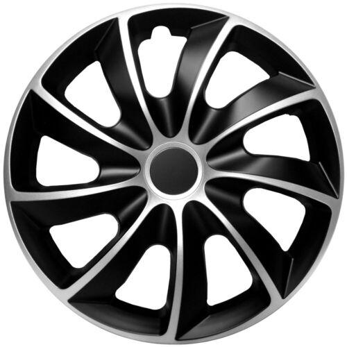 """Adornos de ajuste de 15/"""" Ruedas Ford Focus Fiesta Conectar Custom 4 x15 pulgadas de plata negro"""
