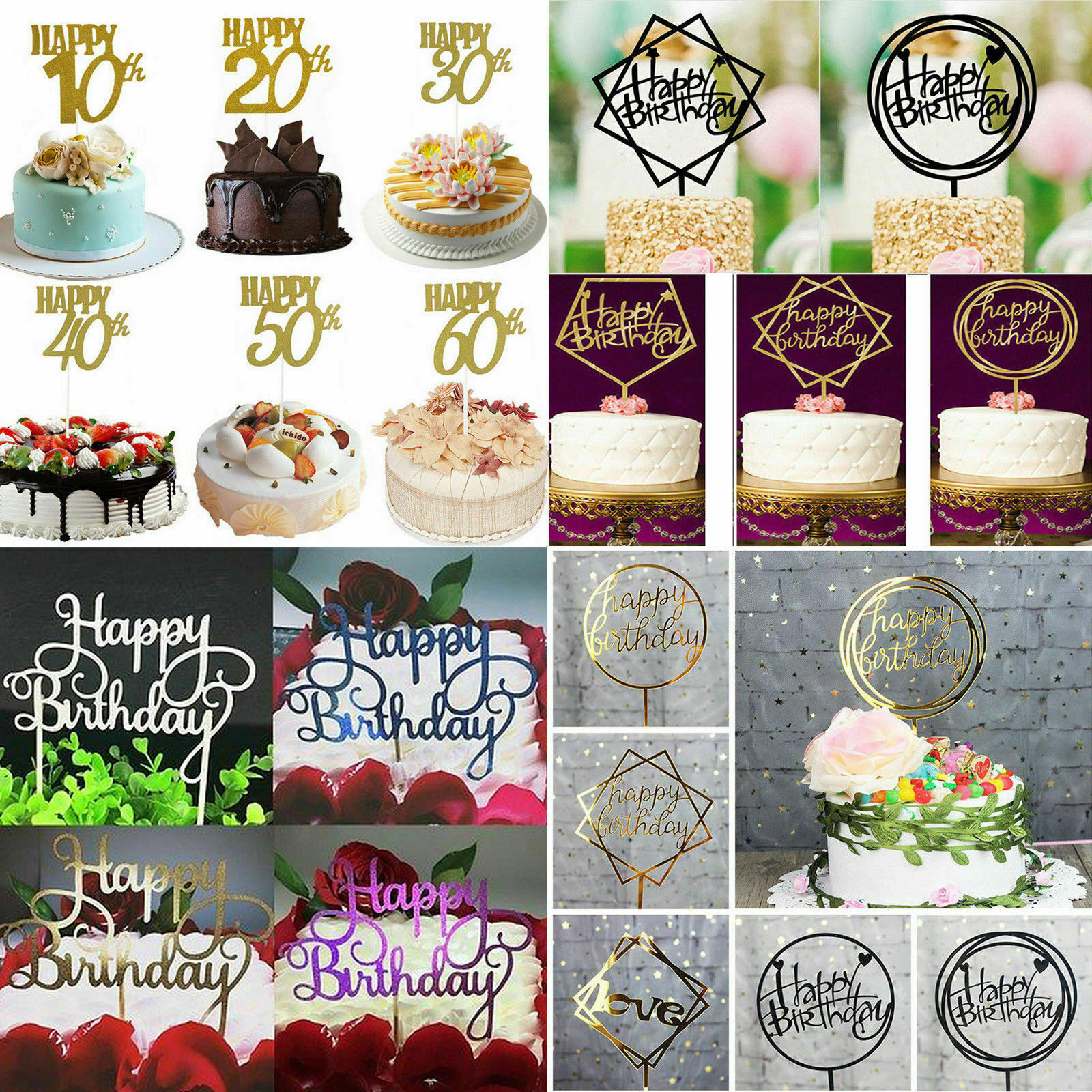 Happy Birthday Cake Topper Glitter Calligraphy Bling Sparkle Decoration Party
