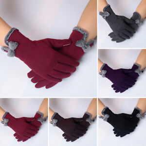 US Winter Warm Thick Soft Cashmere Touch Screen Fleece Gloves For Women Ladies