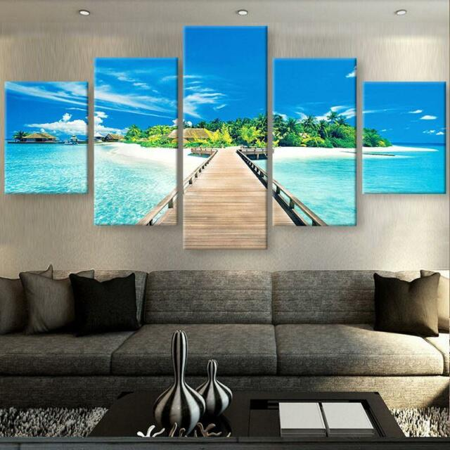 Beach Island 5 Panel Art Home Canvas Oil Painting Wall Art Picture Print Decor