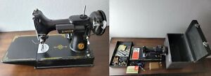 Vintage Singer 221-1 Featherweight Sewing Machine W/Case Manual AF938787