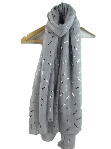 Ladies Scarves  With Glitter Rose Gold Beautiful Dragonfly  Wrap Ideal Gift