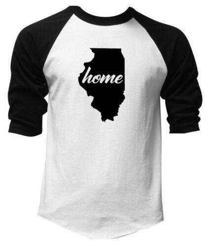 New Men/'s Home Illinois Map white Baseball Raglan Tee Shirt State Hometown V335