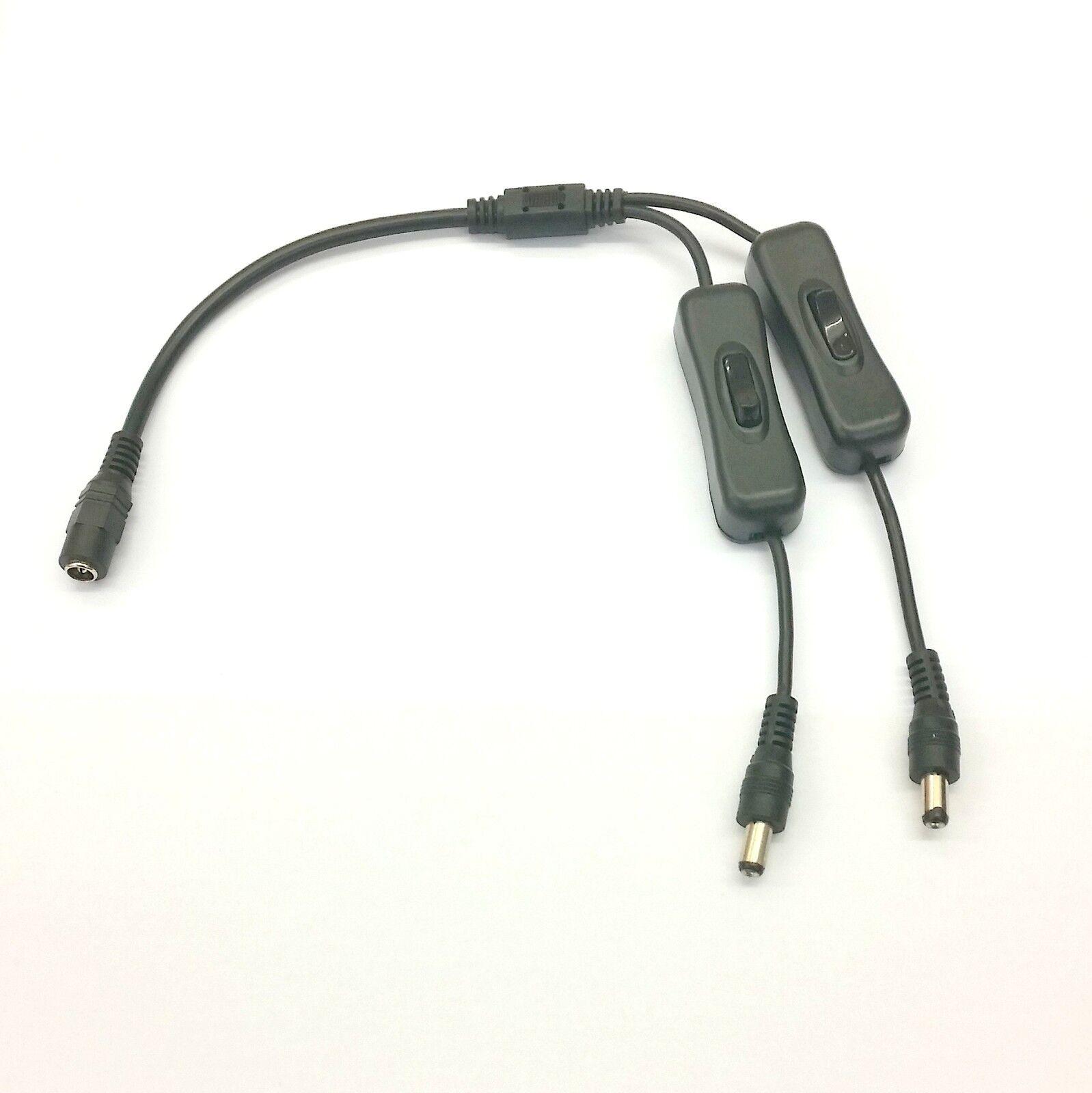 Negro en Linea Interruptor Oscilante - 2.1mm Entrada   Doble con Salidas - Tira