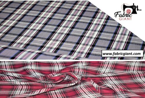Cotton Fabric Material Printed Tartan Check Yarn Dyed Print Design 145 cm Wide