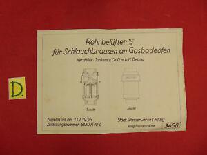 GroßZüGig Rohrbelüfter 1/2 Für Schlauchbrausen An Gasbadeöfen Zugellasen Am 13.7.1936 Sonstige Alte Berufe