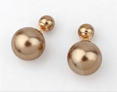 1 Pair Hot New Design Fashion Man Made Double Pearl Earrings Ear Studs 7 Colors