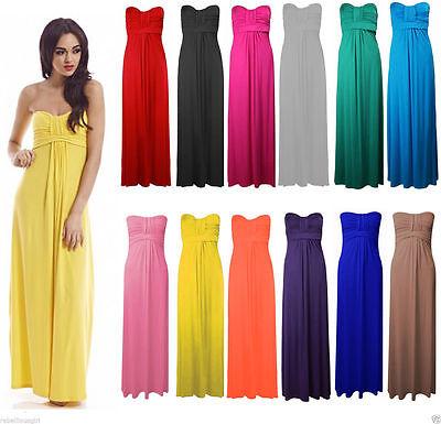 New Womens Sleeveless Boobtube Bandeau Maxi Ladies Sheering Long Dress Size 8-26