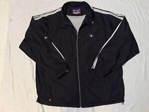 Vintage-Champion-Grey-Track-Jacket-Windbreaker-Mens-Large