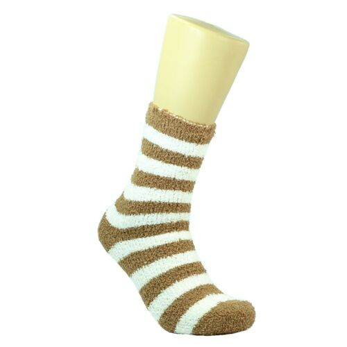 Lot 3-10 Pairs Men Soft Cozy Fuzzy Warm Striped Slipper Crew Socks Size 9-13