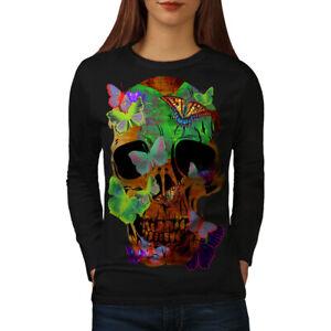 Wellcoda Butterflies Skull Womens Long Sleeve T-shirt, Peace Casual Design