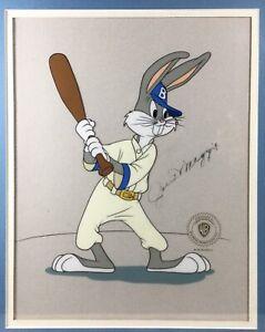 Warner Brothers Joe DiMaggio Signed Bugs Bunny Brooklyn Dodgers Animation Cel