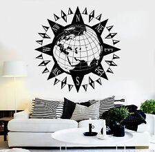 Vinyl Wall Decal Earth Wind Rose Geography School Nautical Stickers (ig4533)