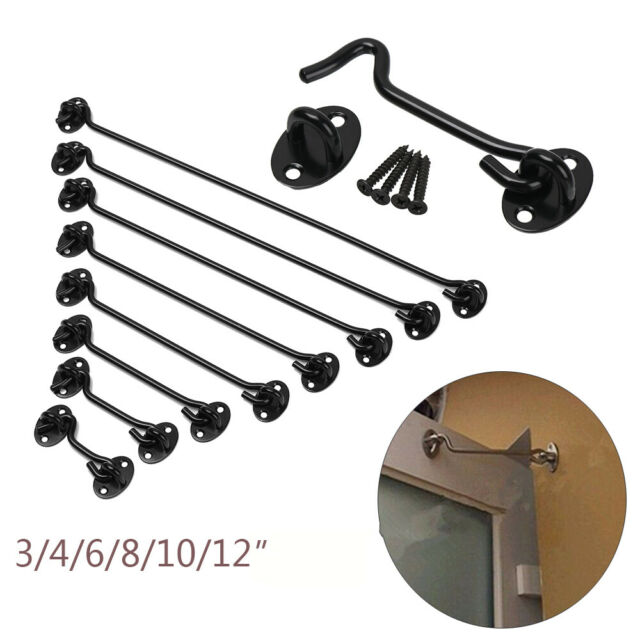 Cabinet Doors and Windows 4 Garden Gates 2pcs Gate Hook and Eye Swivel Latch for Holding Open Shed Doors BE-TOOL Cabin Hooks