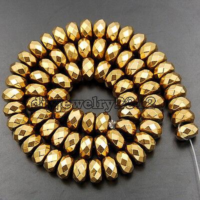 "Matte Smooth Faceted Hematite Gemstone Rondelle Beads 15.5"" 2mm 3mm 4mm 6mm 8mm"