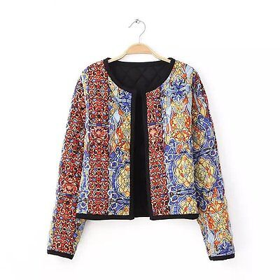 Winter fashion colorful Cotton padded quilted printing SLIM short Jacket Coat