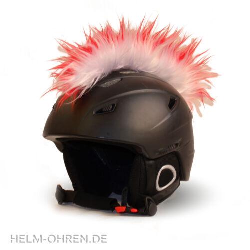Weiß Helmirokese// Helm Punk  Iro// Irokese// Helmaufsatz für Motorradhelm Rot
