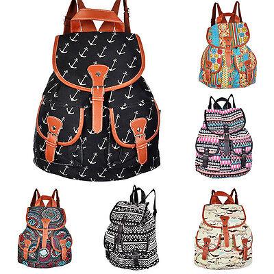 New Vintage Women's Canvas Travel Satchel Shoulder Bag Backpack School Rucksack