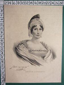 C1830 Georgiano Estampado ~ Laetitia Bonaparte Facsímil Firma