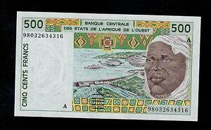 West African States Ivory Coast UNC 500 Francs 2002 P-110Am Banknotes