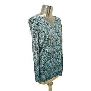 Olsen Top T-Shirt Blouse Aqua Blue UK L 16 (EU44) NEW Cotton Women's RRP £89