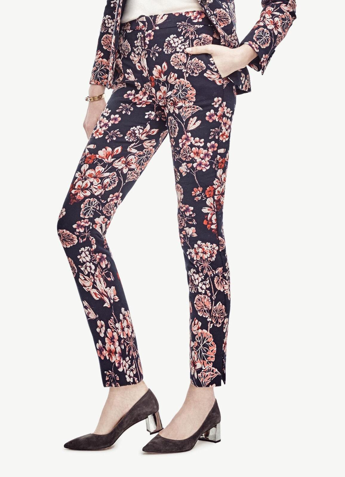 NWT Ann Taylor Jacquard Floral Print Ankle Pants Size 4