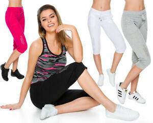 Womens-Capri-Active-Sports-Drawstring-Pants-Pockets-Stretchy-3-4-Leggings-FS1108