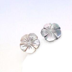 Perlmutt-Bluete-Blume-Design-Ohrringe-Ohrstecker-Stecker-925-Sterling-Silber-neu
