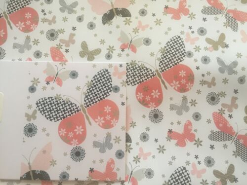 WHITE//BLACK//PINK//GOLD BUTTERFLIES GIFT WRAPPING PAPER 2 SHEETS+1 GIFT TAG BGC
