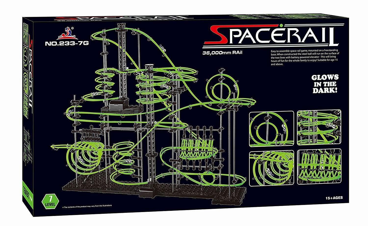 SpaceRail Level 7 36,000mm Glow in The The in Dark Marble Run Fun DIY Spacwarp Set 00263c