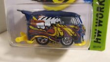 Hot Wheels 2014 #201 HW Workshop VOLKSWAGEN KOOL KOMBI blue & yellow shorty bus