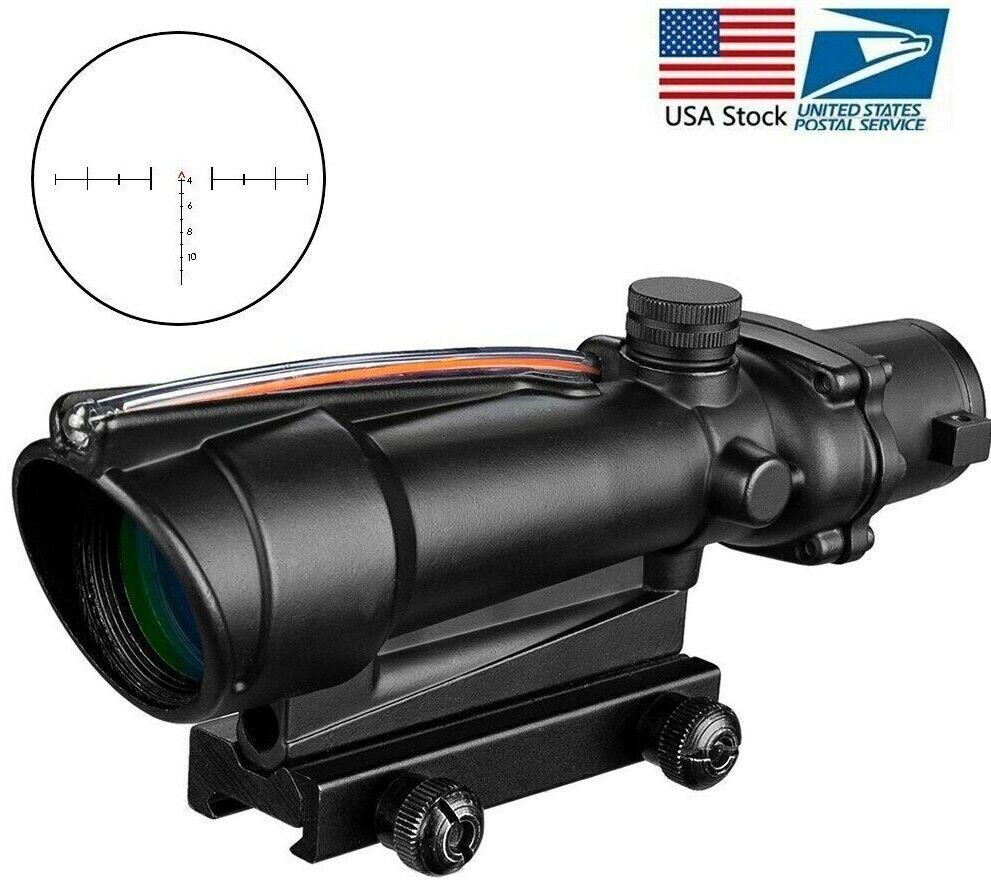 Caza miras ACOG 5x35 doble iluminada Chevron Cruz de fibra óptica EE. UU. estándar