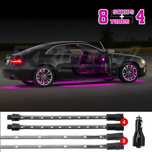 new led neon accent lighting kit for car truck underglow interior 3 mode pink ebay. Black Bedroom Furniture Sets. Home Design Ideas