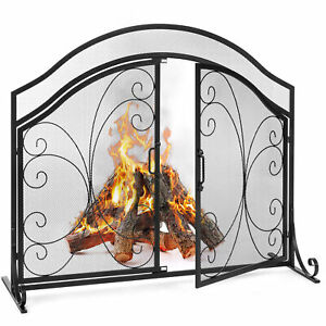 BCP-Single-Panel-43x37in-Wrought-Iron-Mesh-Fireplace-Screen-w-Magnetic-Doors
