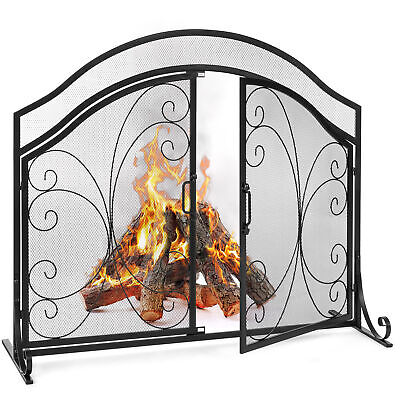 Fire Spark Guard w//Magnetic Doors Best Choice Products 44x33in 2-Panel Handcrafted Wrought Iron Decorative Mesh Geometric Fireplace Screen