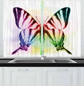 Details about Swallowtail Butterfly Kitchen Curtains 2 Panel Set Window  Drapes 55\