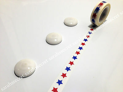 Japanese Washi Tape 15mmx10m Red Blue American Stars #W277