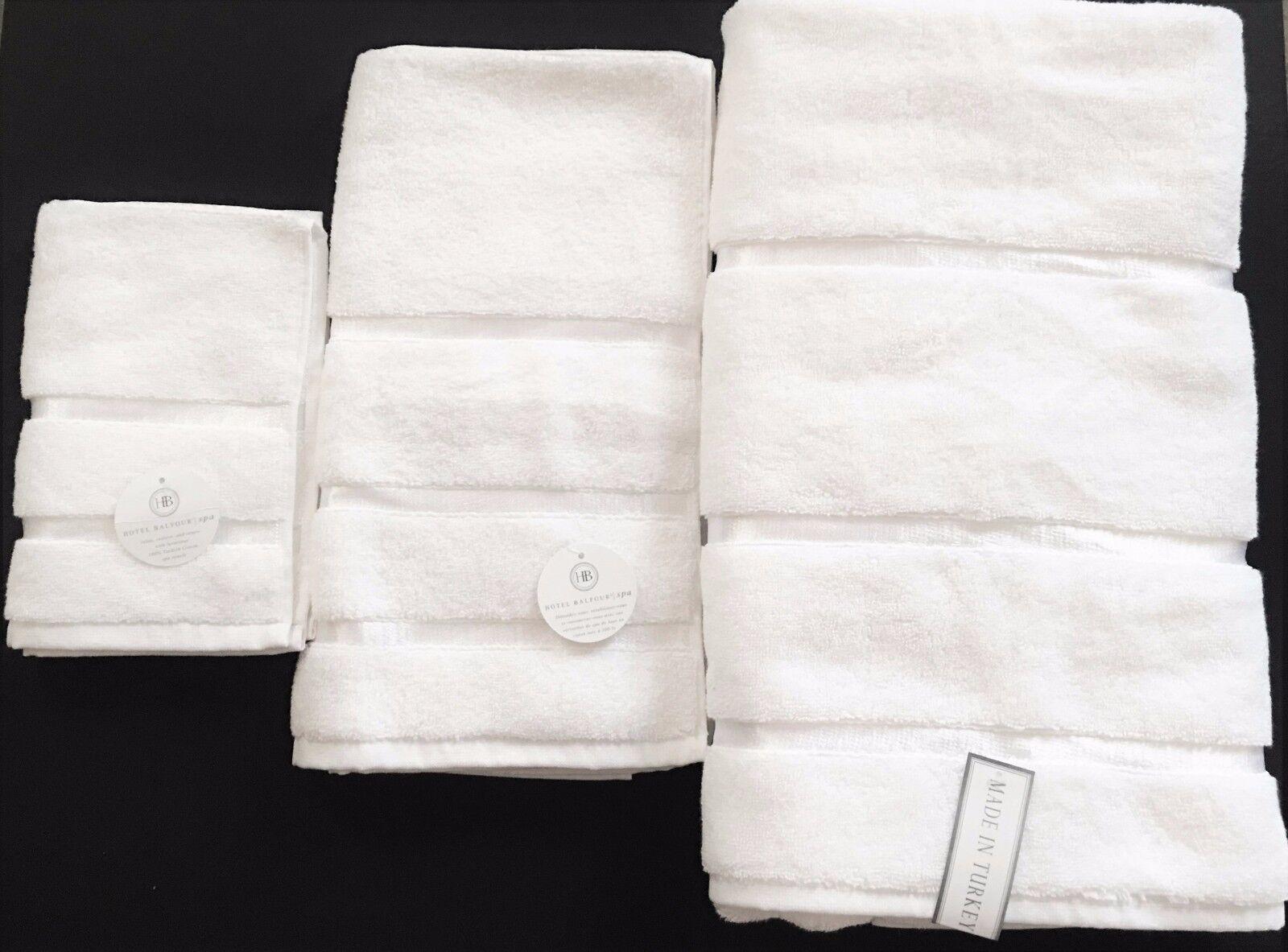 Hotel Balfour 3 Pz Set Bianco Peloso Turco Bagno di Cotone+ Asciugamano+