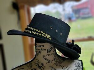 Pigalle Black x5 Wool Felt Western Cowboy-girl Flat Form Zorro Gambler Hat