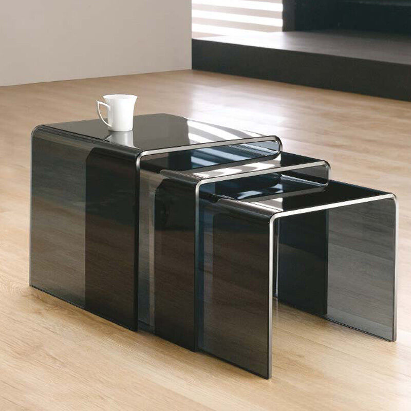 Black Coffee Table Nest: NEW MILAN SET OF 3 BENT GLASS NEST OF SIDE TABLES COFFEE