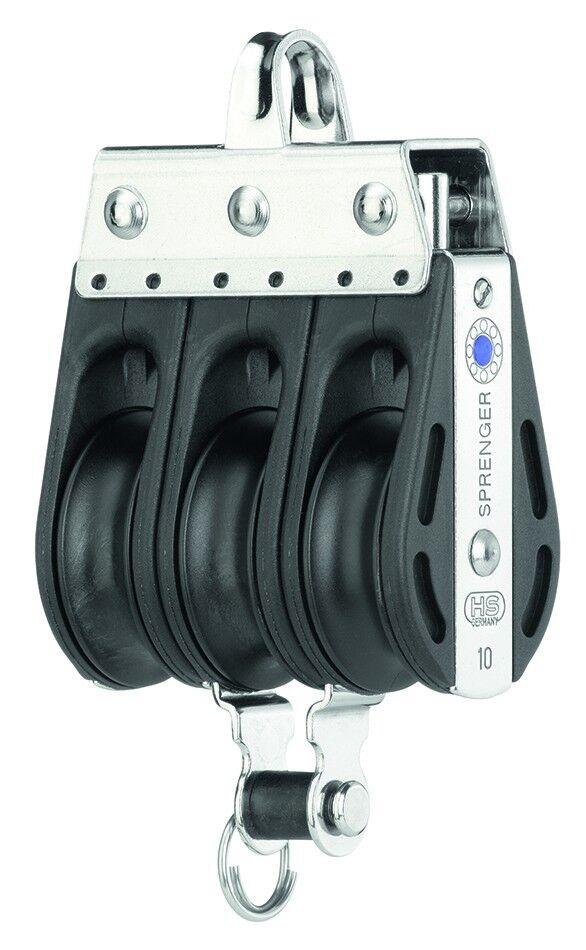 Sprenger Nadellagerblock - 3 Rollen Bügel Hundsfott - 8 mm oder 10 mm Tauwerk