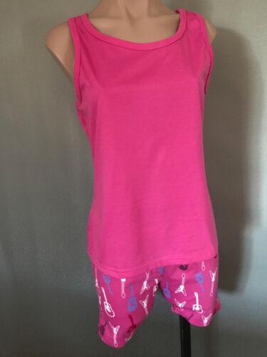 BNWT Girls Sz 12 Pink Guitars Short Summer Racer Back Style Stretch PJ Pyjamas